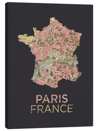 Lienzo  Paris France Map Silhouette - Amelia Gier