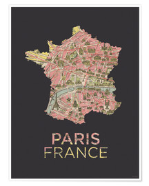 Póster Paris France Map Silhouette