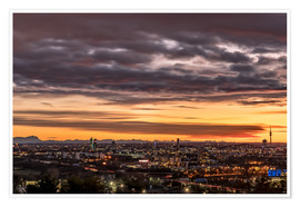 Póster  Sunset over Munich (Bavaria) - Achim Thomae