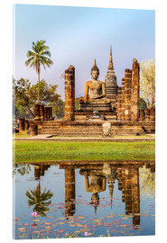 Cuadro de metacrilato  Wat Mahathat buddhist temple reflected in pond, Sukhothai, Thailand - Matteo Colombo