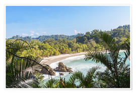 Póster Beach and tropical forest, Manuel Antonio National Park, Costa Rica