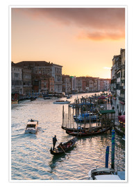Póster Sunset over the Grand Canal in Venice, Italy