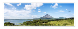 Póster Panoramic of Arenal volcano and lake, Costa Rica