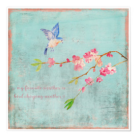 Póster  Bird chirping waether Spring and cherryblossoms - UtArt