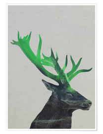 Póster  Deer In The Aurora Borealis - Andreas Lie