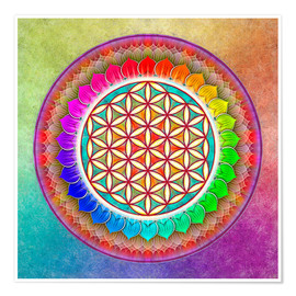 Póster  Flower of Life - Rainbow Lotus Artwork I - Dirk Czarnota