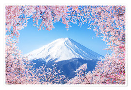 Póster Mount Fuji in Japan during the cherry blossom in spring