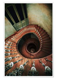 Póster Spiral wooden stairs