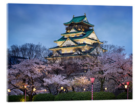 Cuadro de metacrilato  Osaka Castle in spring for cherry blossom - Jan Christopher Becke