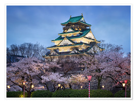 Póster  Osaka Castle in spring for cherry blossom - Jan Christopher Becke