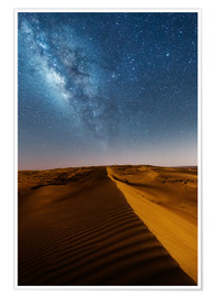 Póster  Milky way over dunes, Oman - Matteo Colombo