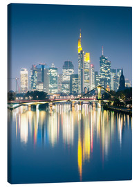 Lienzo  Frankfurt skyline reflected in river Main at night, Germany - Matteo Colombo