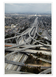 Póster  Los Angeles, Aerial of Judge Harry Pregerson Interchange and highway. - David Wall