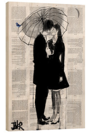 Cuadro de madera  a little bird, a little moon and a little love - Loui Jover