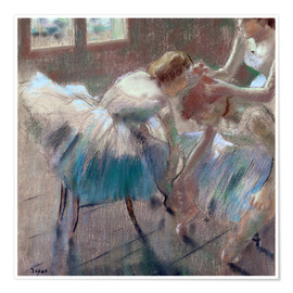 Póster three dancers preparing for class