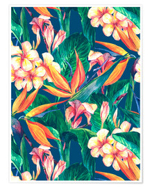 Póster  Exotic Flowers in Watercolor