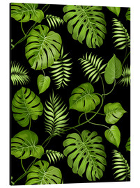 Monstera with palms