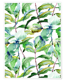 Póster  Leaves in Watercolor