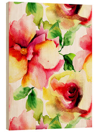 Madera  Watercolor painting with Rose flowers