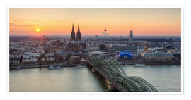 Póster Panorama view of Cologne at sunset