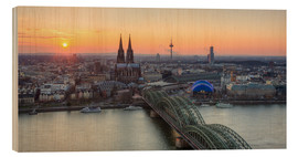 Cuadro de madera  Panorama view of Cologne at sunset - Michael Valjak