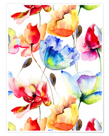 Póster  Poppies and tulips in watercolor