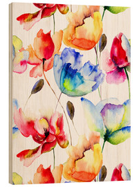 Madera  Poppies and tulips in watercolor