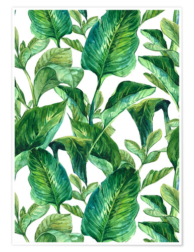 Póster Tropical Leaves in Watercolor