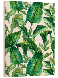 Cuadro de madera  Tropical Leaves in Watercolor