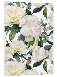 Forex  White Peony in watercolor