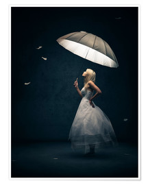 Póster Girl with umbrella and falling feathers