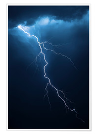 Póster  Stormy clouds with flash of lightning - Johan Swanepoel