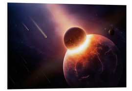 Cuadro de PVC  Planet earth destroyed in collision with asteroid - Johan Swanepoel
