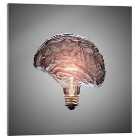 Cuadro de metacrilato  Conceptual light bulb brain illustrated - Johan Swanepoel