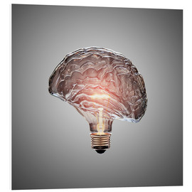 Cuadro de PVC  Conceptual light bulb brain illustrated - Johan Swanepoel