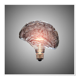 Póster  Conceptual light bulb brain illustrated - Johan Swanepoel