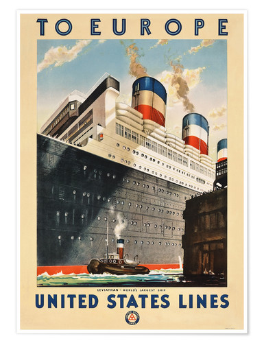 Póster To Europe - United States Lines