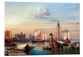 Cuadro de metacrilato  Viking boats on the Thames. - Everhardus Koster