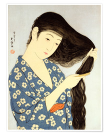 Póster Young woman combing her hair