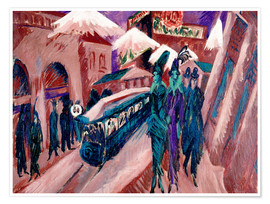Póster  Leipziger Strasse with electric train - Ernst Ludwig Kirchner