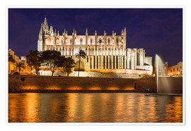 Póster  Cathedral of Palma de Mallorca at night - Christian Müringer