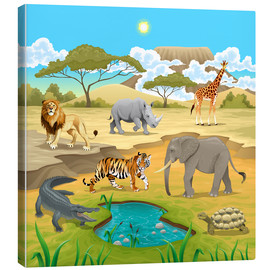 Lienzo  Animales africanos en la Sabana - Kidz Collection