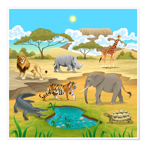 Póster African animals in a savannah