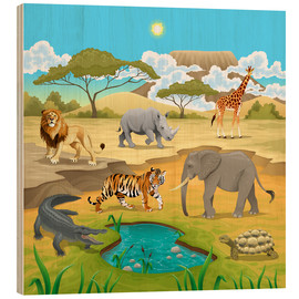 Cuadro de madera  Animales africanos en la Sabana - Kidz Collection