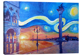Lienzo  Starry Night in Venice Italy San Marco with Lion - M. Bleichner