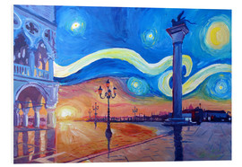 Cuadro de PVC  Starry Night in Venice Italy San Marco with Lion - M. Bleichner