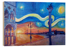 Cuadro de madera  Starry Night in Venice Italy San Marco with Lion - M. Bleichner