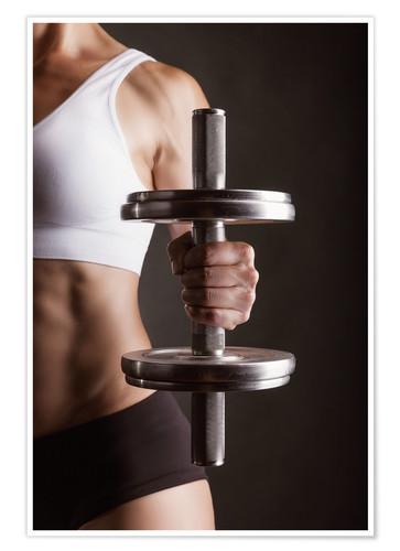 Póster Sportswoman with dumbbell