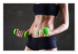 Póster Sportswoman with dumbbells
