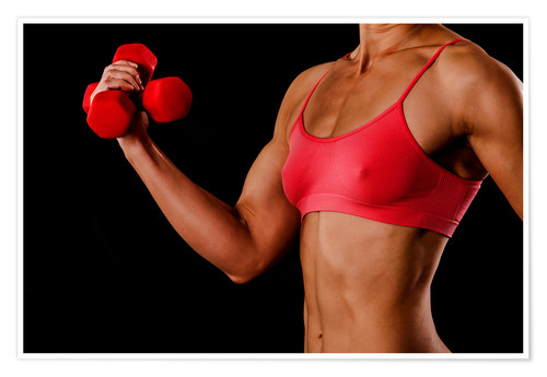 Póster Fitness woman with dumbbells